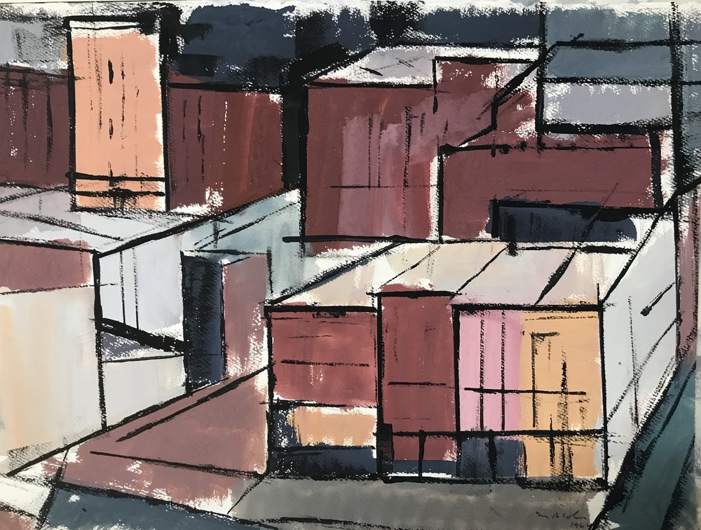 "NY Buildings 1964-G4 by Max Arthur Cohn 1964 New York 12"" x 16"" Gouache on Paper"