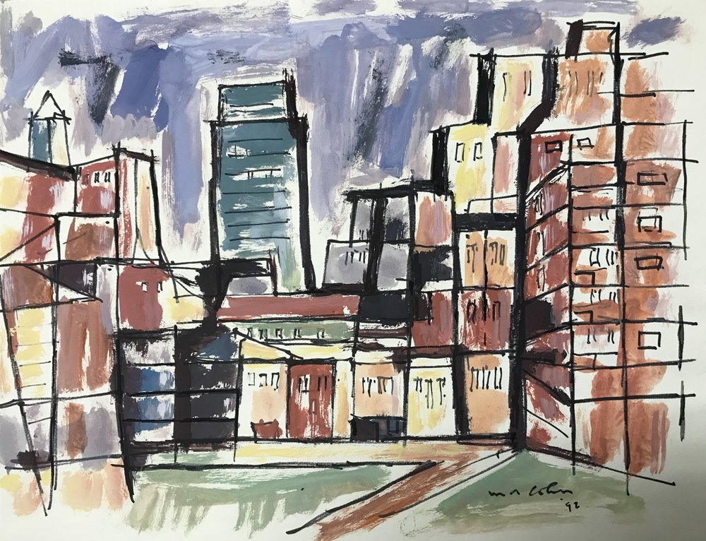 "Cityscape  1992-G4 by Max Arthur Cohn Gouache on Paper 1992 New York City 12"" x 16"""