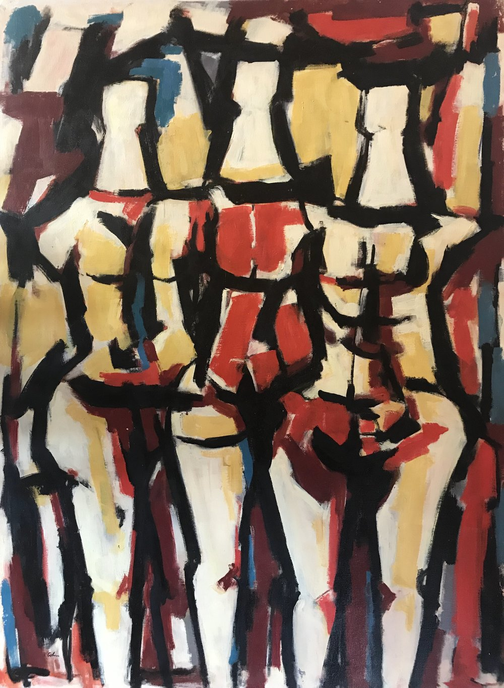 "Three Standing Figures 643-1976 by Max Arthur Cohn 24"" x 32"" Oil on Canvas 1970"