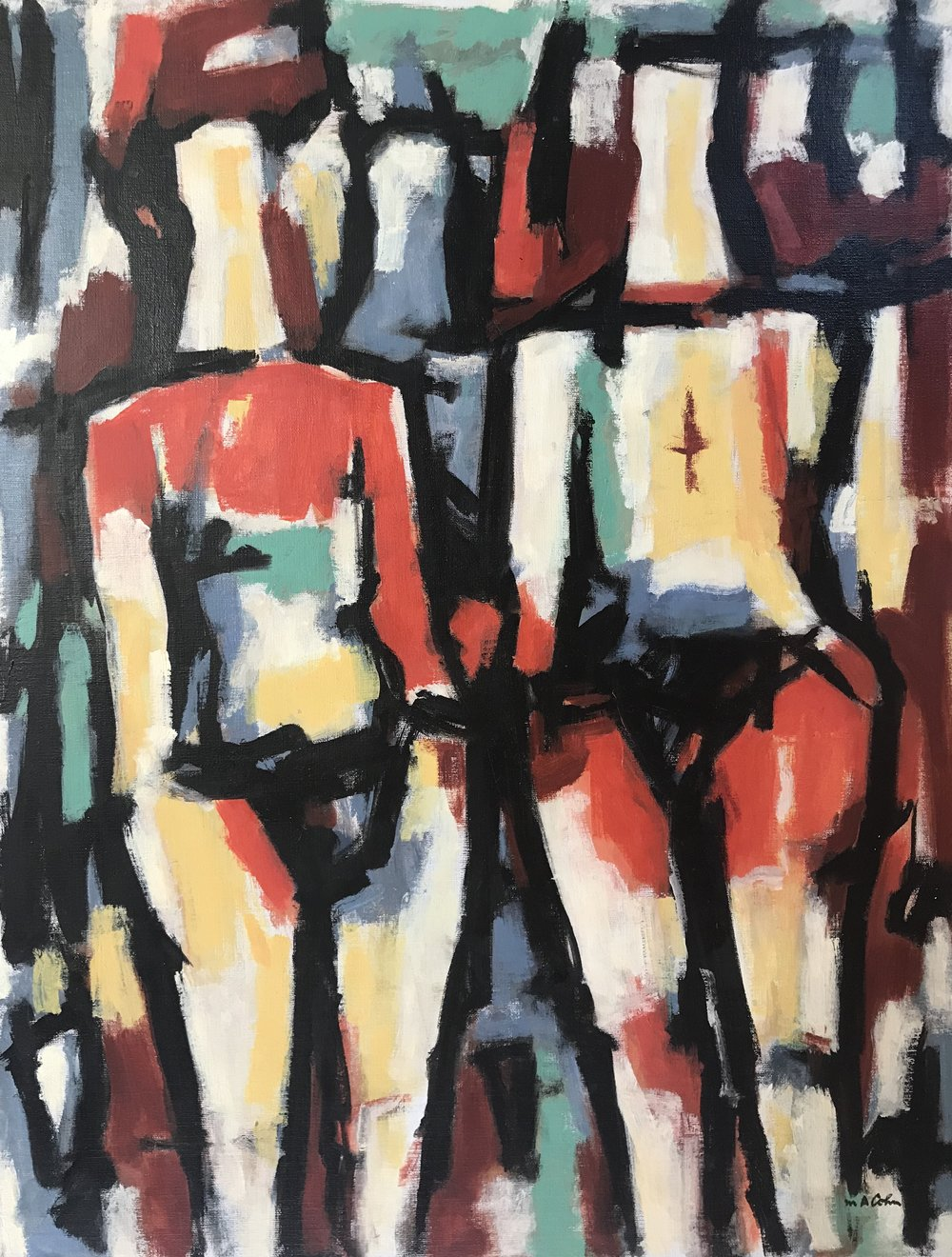 "Two Figures 659-1977 by Max Arthur Cohn 22"" x 28"" Oil on Canvas 1977"