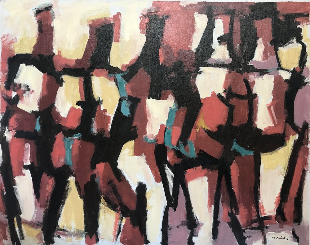 "Abstract Figures 673-1977 by Max Arthur Cohn 24"" x 30"" Oil on Canvas 1977"