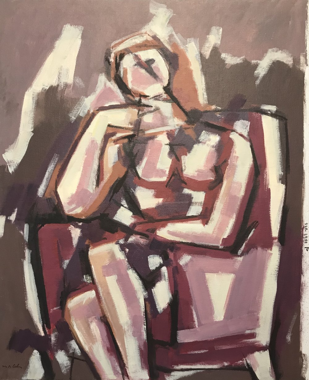 "Seated Figure  828-1981 by Max Arthur Cohn 24"" x 30"" Oil on Canvas 1981"