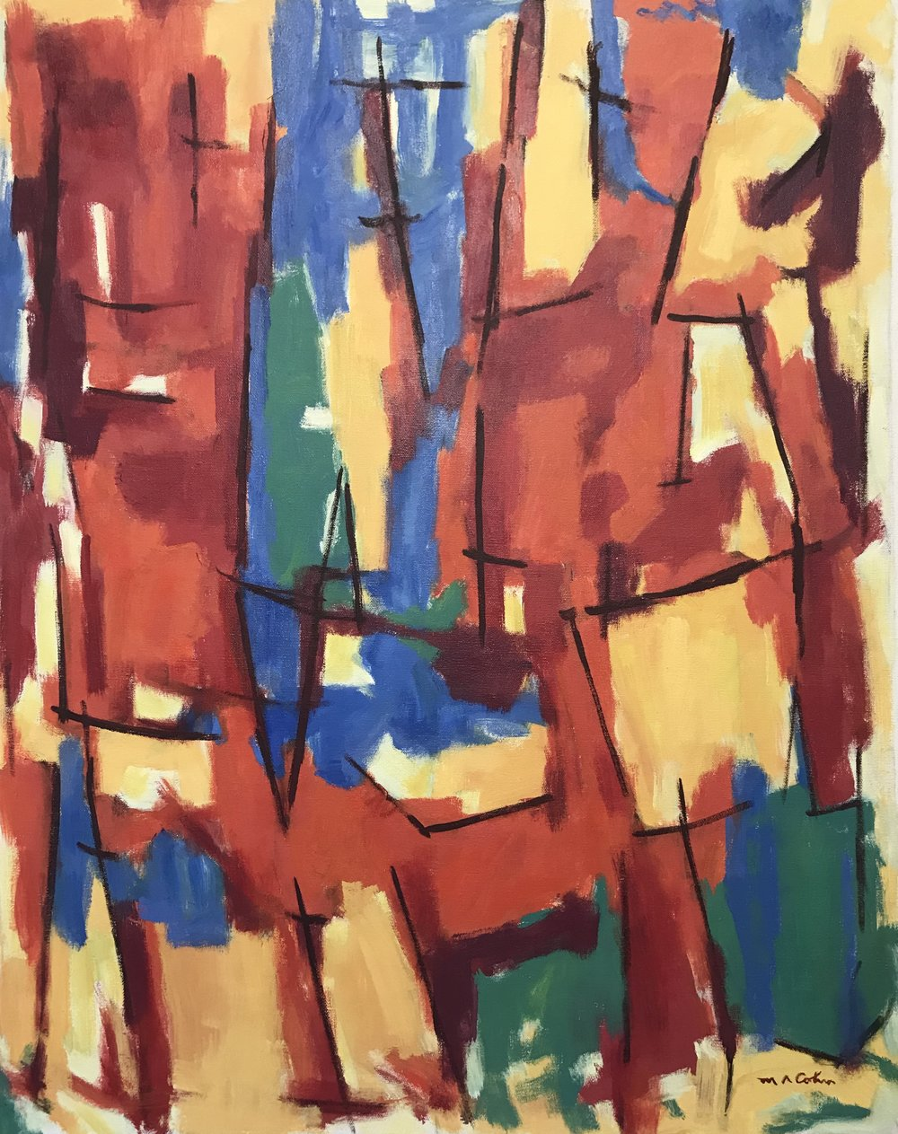 "Abstraction 1018-1985 by Max Arthur Cohn 24"" x 30"" Oil on Canvas 1985"