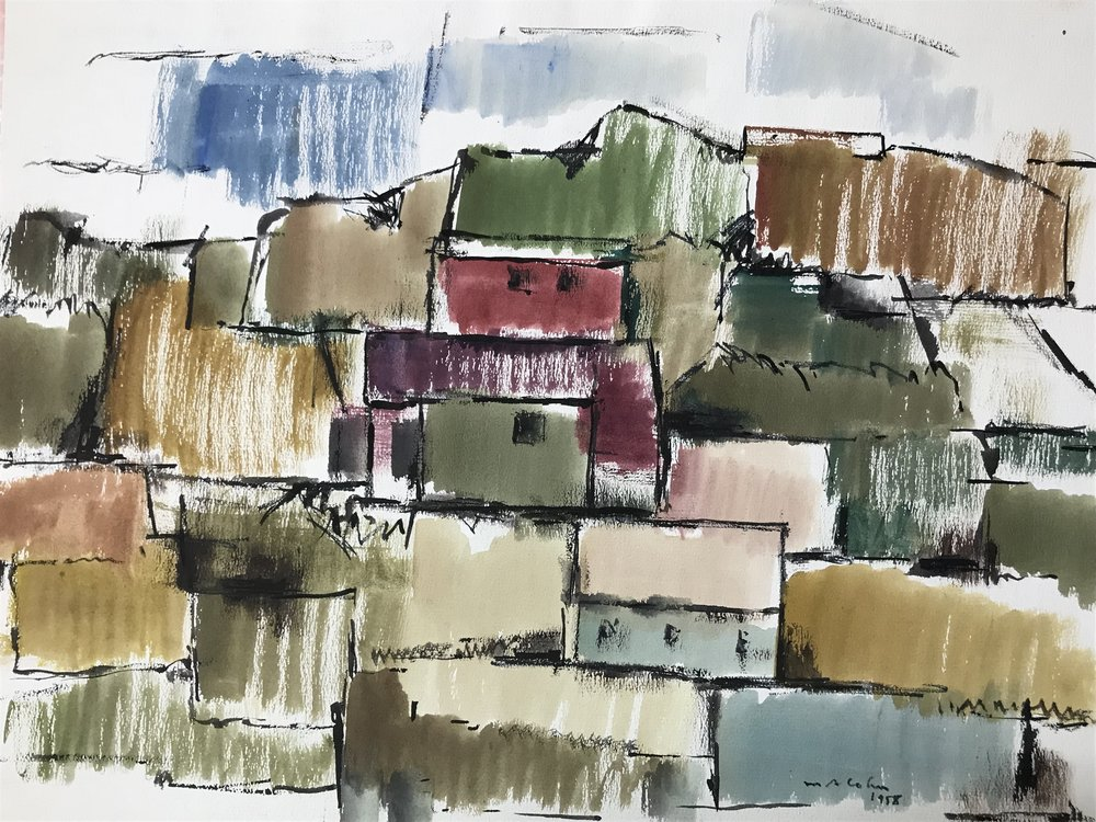 "Haiti 1958-2 by Max Arthur Cohn 18"" x 23"" Watercolor and Gouache on paper 1958"
