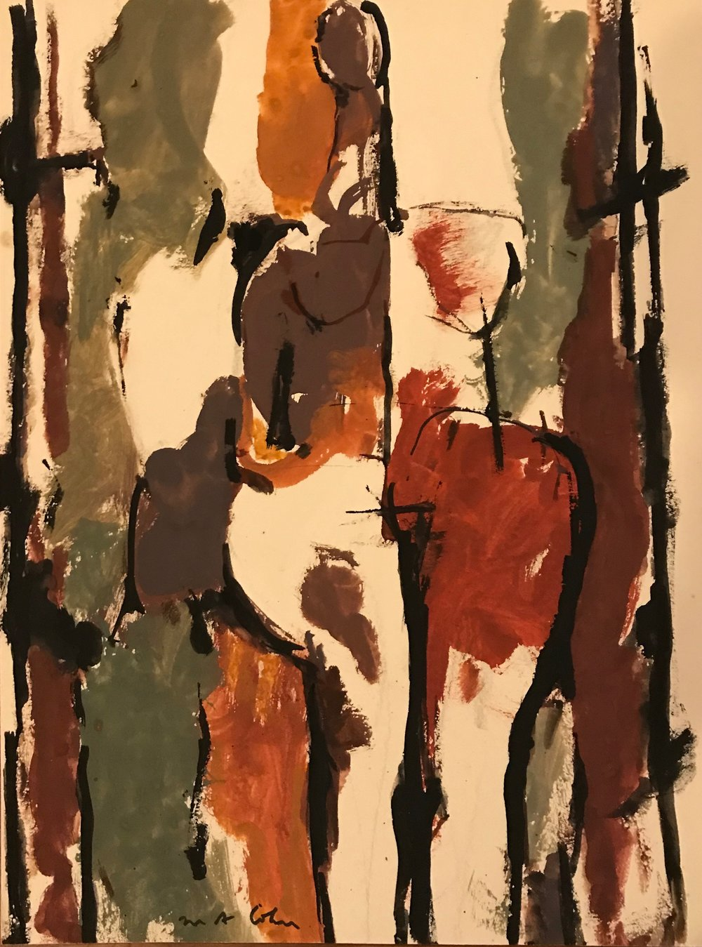 "Standing Nude  1969-G33 by Max Arthur Cohn 10"" x 13"" Gouache on Paper 1969"