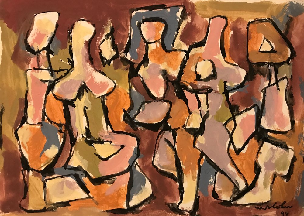 "Abstract Figures  1994-G37 by Max Arthur Cohn 8"" x 11"" Gouache on Paper 1994"