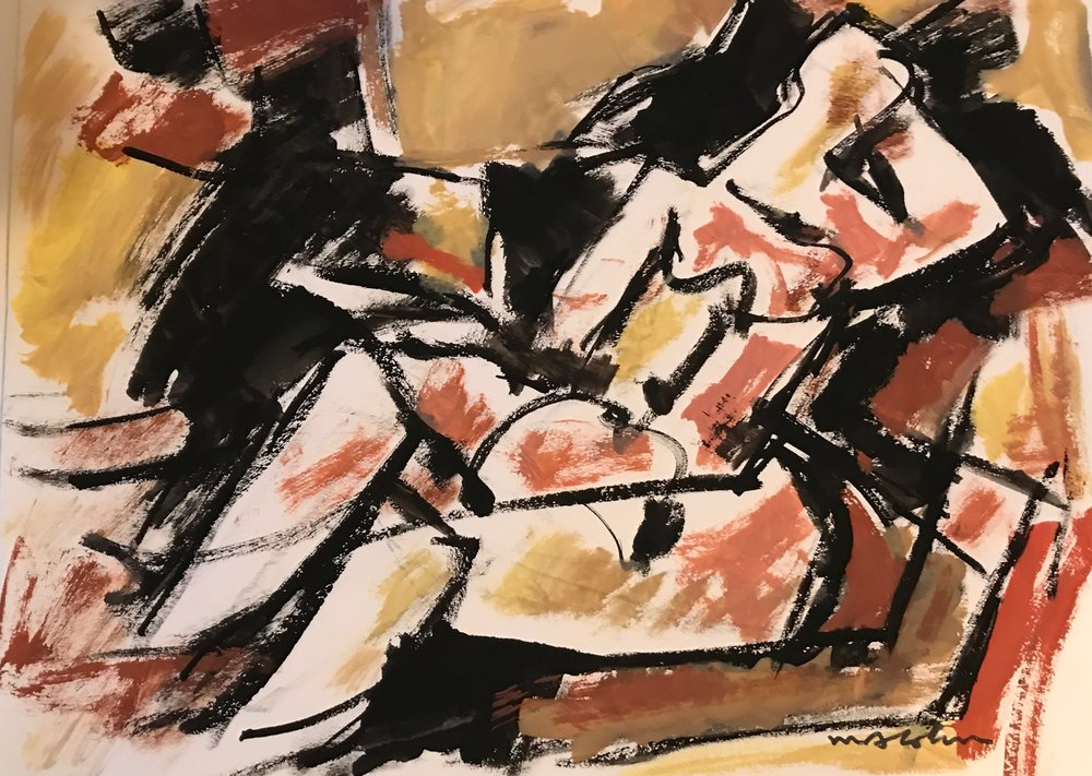"Reclining Woman  1974-G53 by Max Arthur Cohn 9"" x 12"" Gouache on Paper 1974"