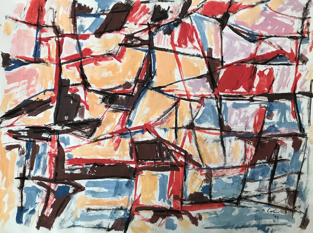 "Abstraction 1993-G7 by Max Arthur Cohn 1993 Gouache on Paper 18"" x 24"""