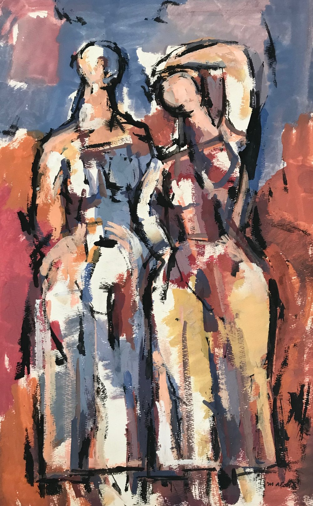 "Two Standing Figures  1958-G12 by Max Arthur Cohn 1958 Gouache on Paper 12"" x 16"""