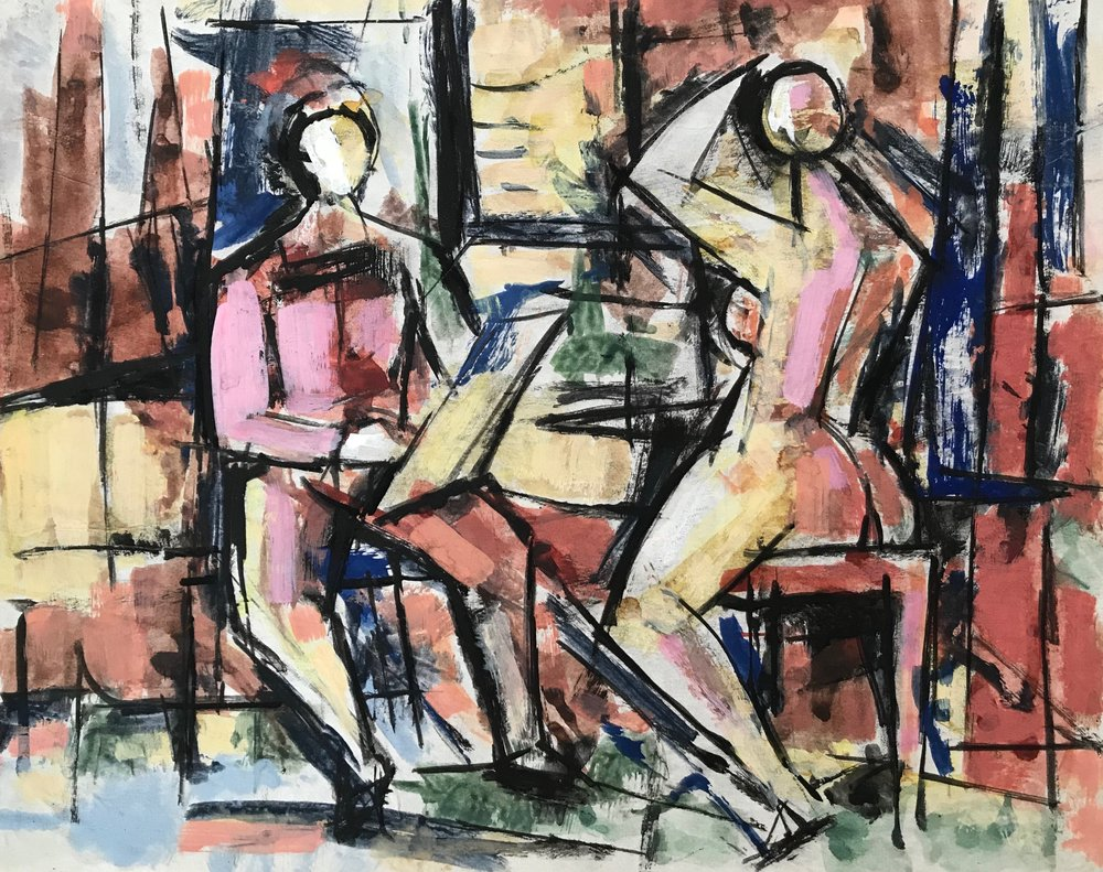 "Artist and Model 1969-G45 by Max Arthur Cohn 1969 Gouache on Paper 8"" x 10"""
