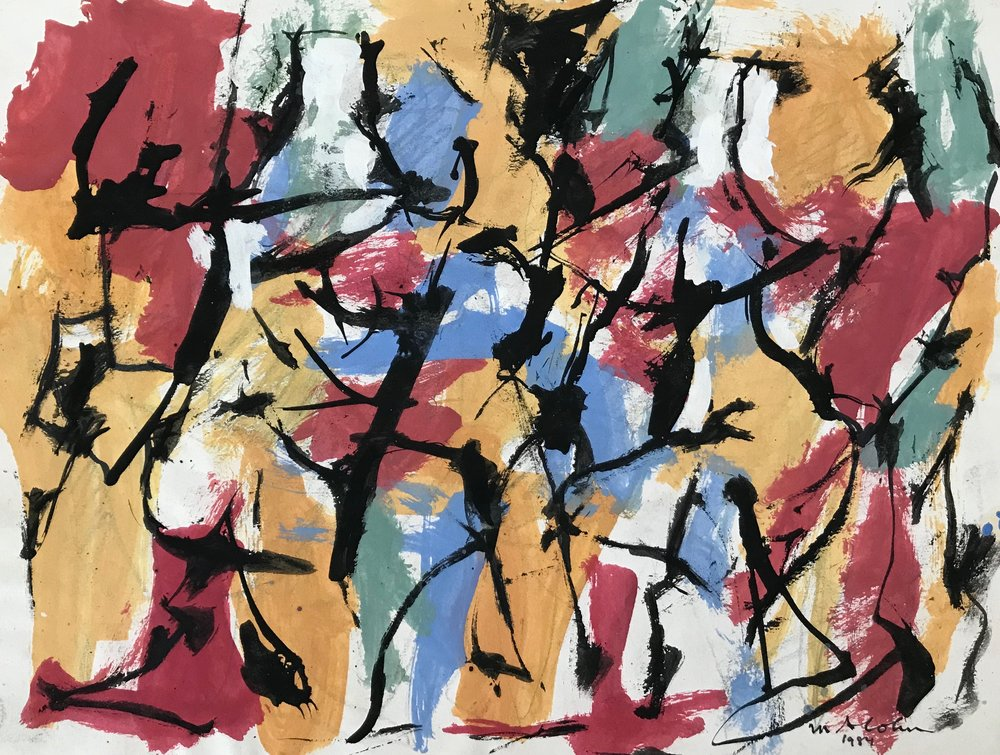 "Abstract Figures 1984-G11 by Max Arthur Cohn 1984 Gouache on Paper 9"" x 12"""