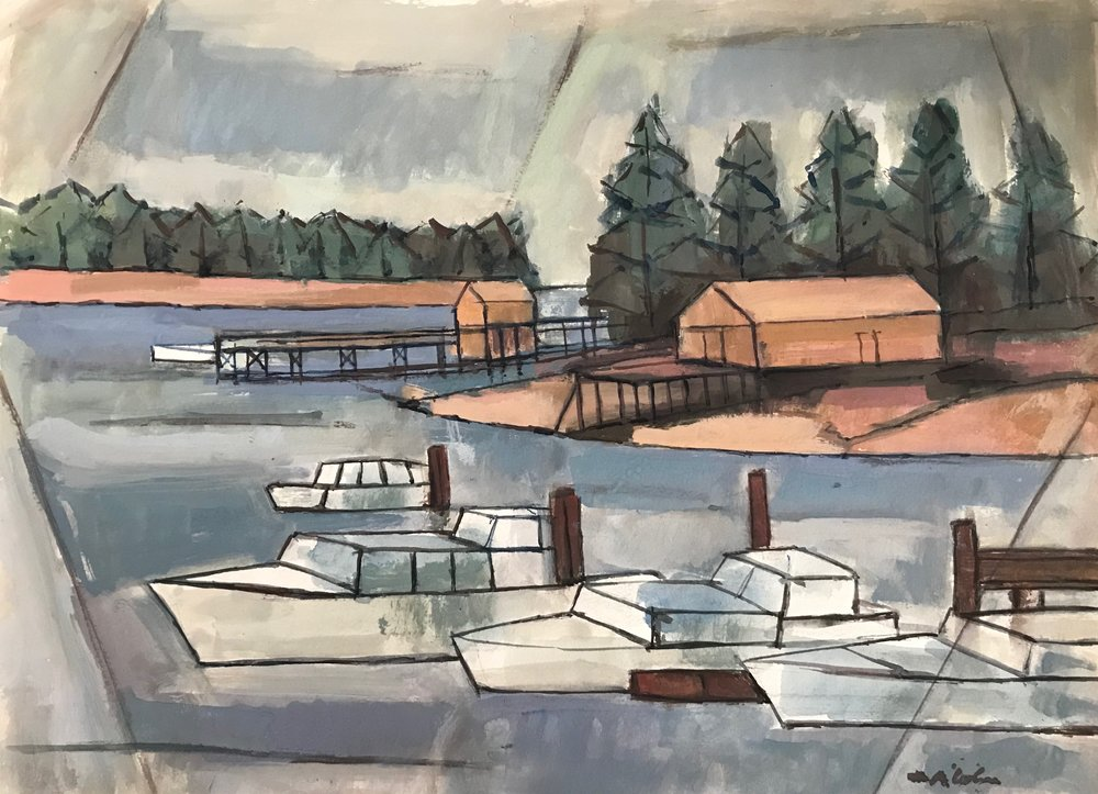 "Monhegan Maine 1972-G1 by Max Arthur Cohn 1972 Gouache on Paper 14"" x 20"""