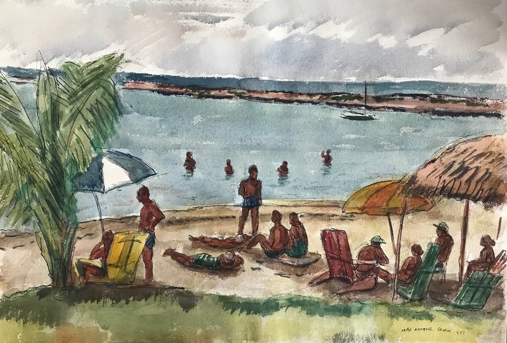 "Nassau Bahamas 1953-7 by Max Arthur Cohn 1953 Watercolor on Paper 13"" x 18.5"""