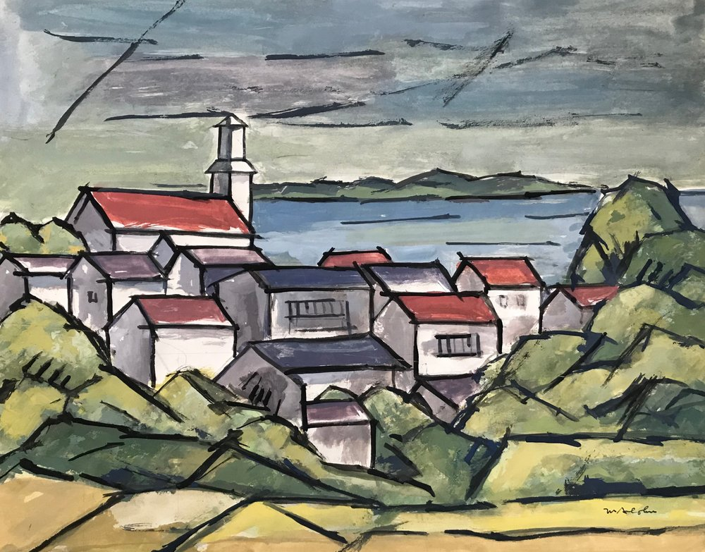 "New England Landscape nd-G14 Max Arthur Cohn not dated Gouache on Paper 14"" x 18"""