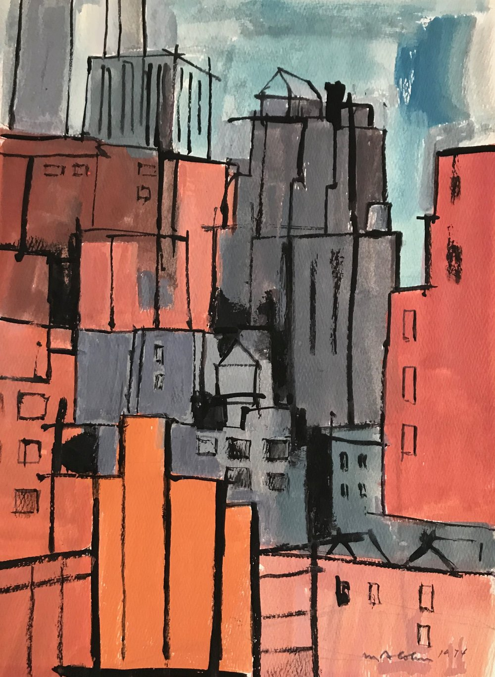 "Abstract Cityscape 1974-G1 by Max Arthur Cohn 1974 Gouache on Paper 9"" x 12"""
