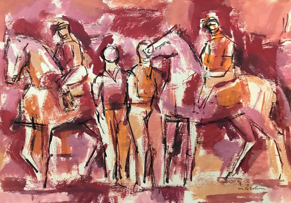 "Before the Race III 1958-G47 by Max Arthur Cohn 1958 Gouache on Paper 11.5"" x 15.5"""