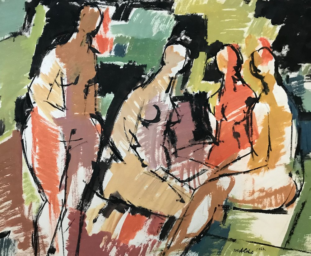 "Four Women 1962-G18 by Max Arthur Cohn 1962 Gouache on Paper 19.25"" x 24.5"""