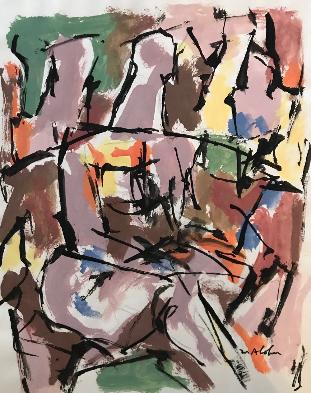 "Seated Figure 1994-G17 by Max Arthur Cohn 1994 Gouache on Paper 13"" x 17"""