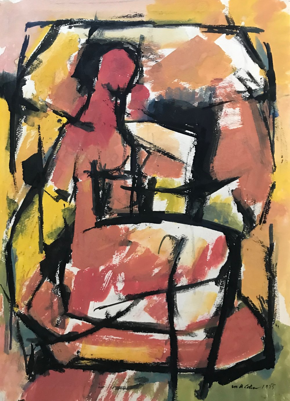 "Seated Woman -1955-G3 by Max Arthur Cohn 1955 Gouache on Paper 10.75"" x 14.5"""