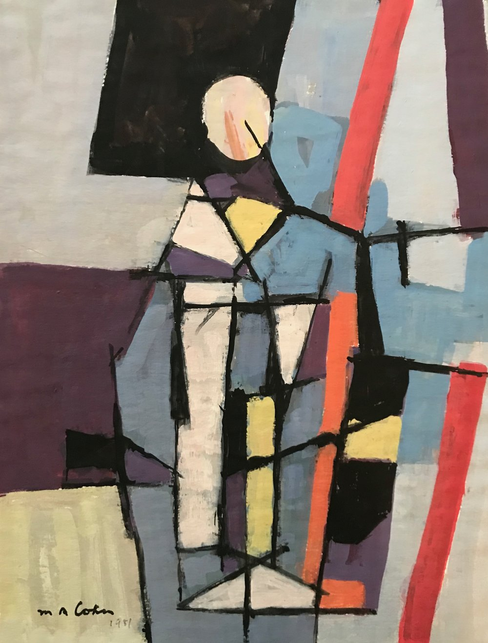 "Abstract Figure 1987-G1 by Max Arthur Cohn 1987 Gouache on Paper 10.25"" x 13.25"""