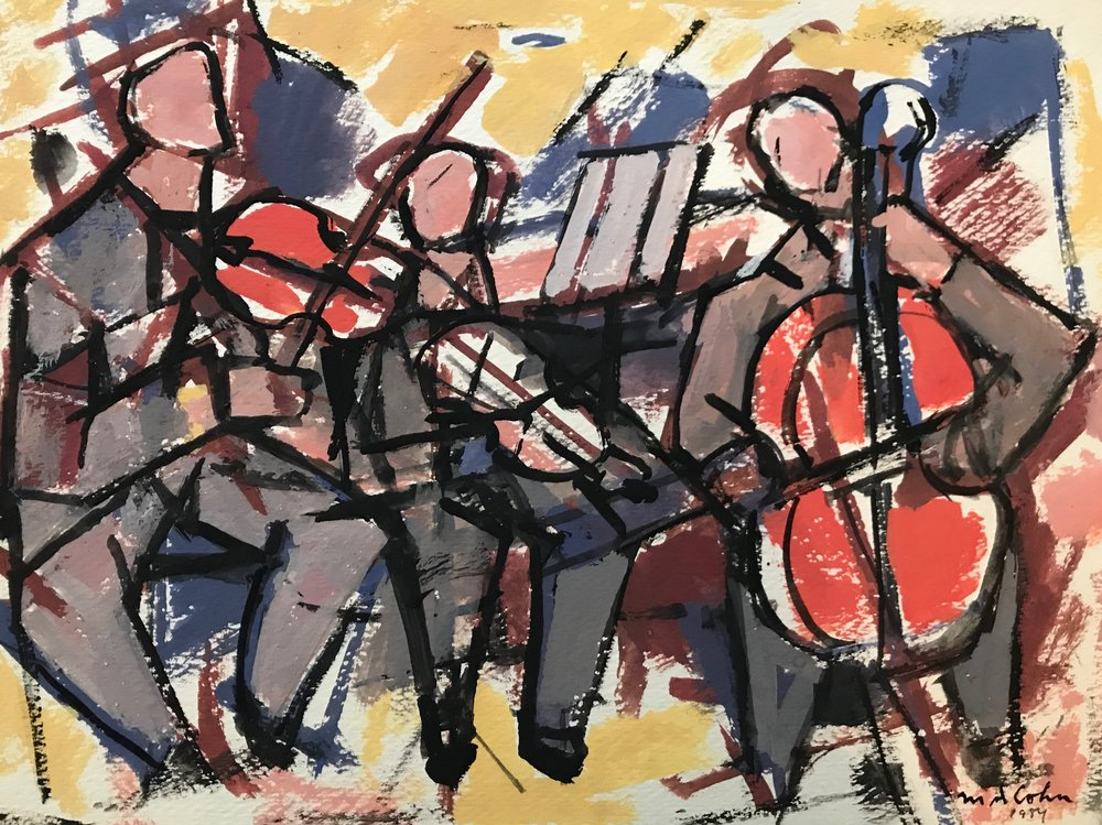 "Trio 1979-G9 by Max Arthur Cohn 1979 Gouache on Paper 11"" x 14.75"""