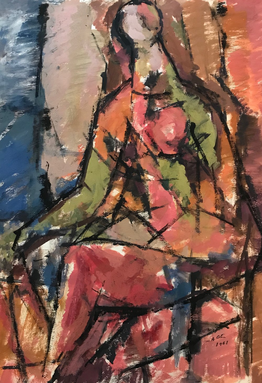 "Seated Figure 1961-G42 by Max Arthur Cohn 1961 Gouache on Paper 17"" x 23.25"""