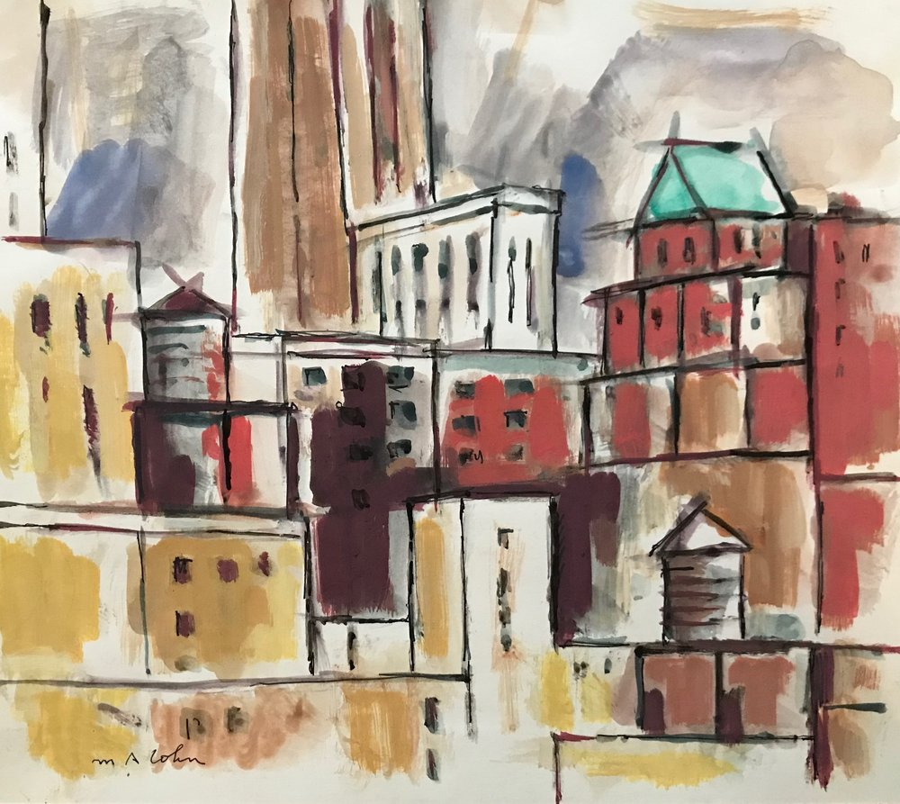 "Cityscape nd-G26 by Max Arthur Cohn not dated Gouache on Paper 8.75"" x 10"""