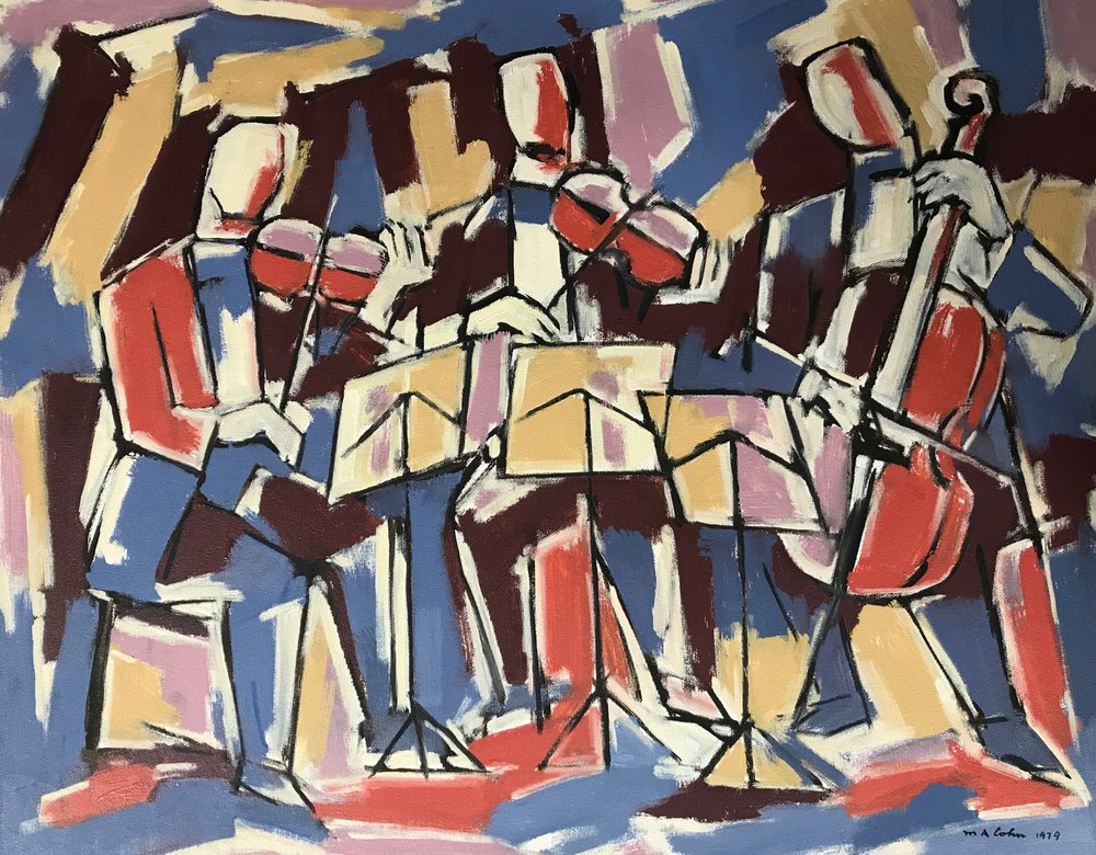 Trio, Musicians 1979-773a  by Max Arthur Cohn oil on canvas 1979 20x25