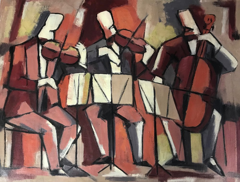 Three Musicians 837-1981  by Max Arthur Cohn oil on canvas 1981 20x25