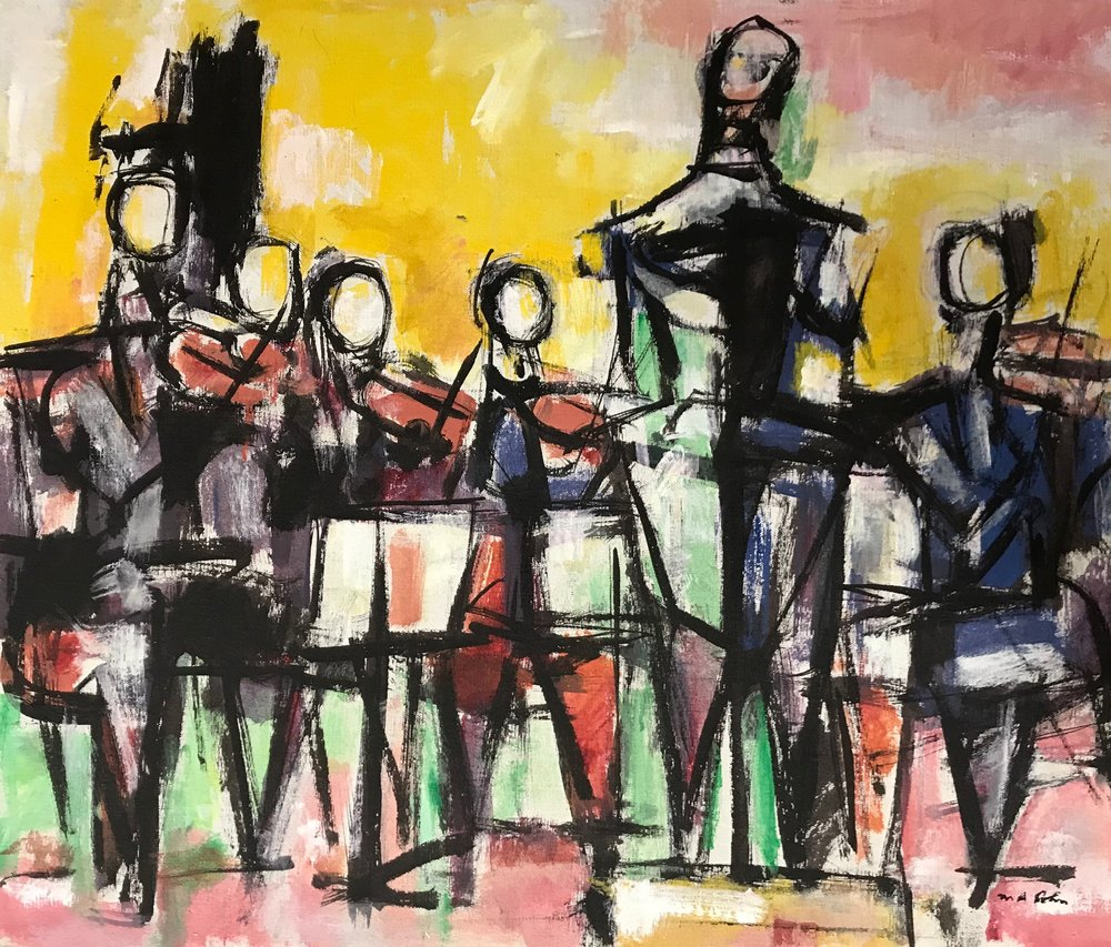 Orchestra U22-1971  by Max Arthur Cohn oil on canvas 1971 20x23