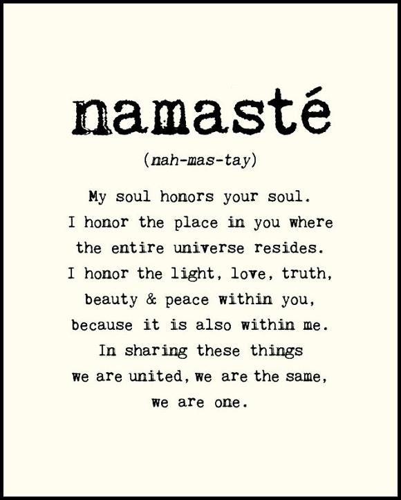 Namaste = Forever Yoga classes at the Yoga Barn, MV