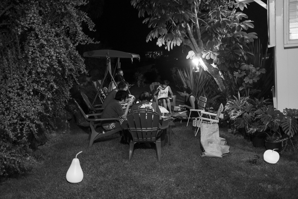 The evening after popo passed away, our family sits together in my parents' backyard. We cooked too much food and enjoyed each others' company as my popo would have wanted. We toasted to her passing and celebrated our lives together.
