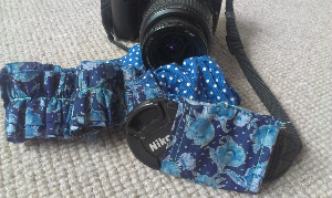 Liberty print ruffled camera strap