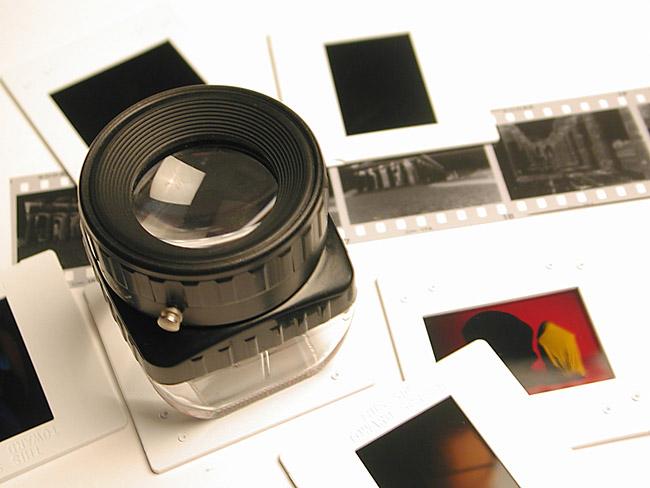 Photo Negative Slide Loupe Editing Stock Photo