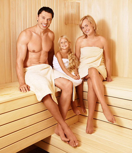Smiling Family in the Sauna ©Deklofenak