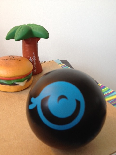 Close-up photo of Eyeona.com stress ball