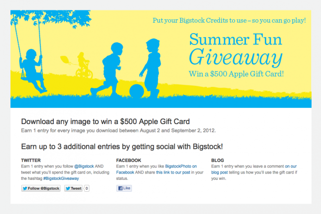 Screen Shot of Summer Fun Giveaway Promo