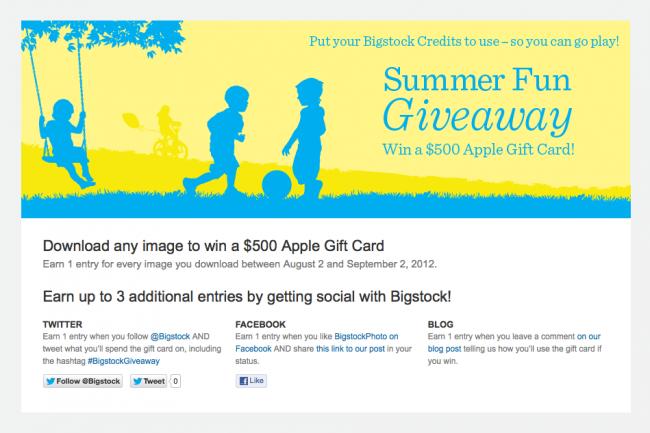 Screen Shot of Summer Fun Giveaway Promo