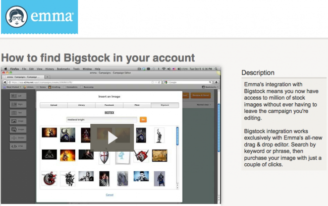 Screen Shot of Emma's Bigstock API