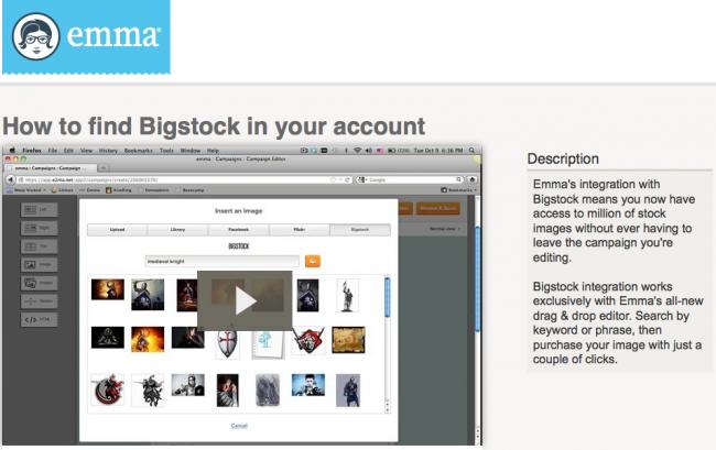 Screen Shot of Emma's Bigstock API