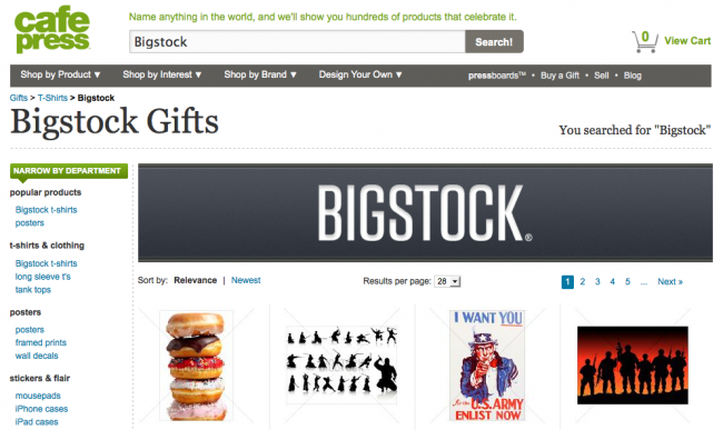Screen shot of CafePress Bigstock Gifts