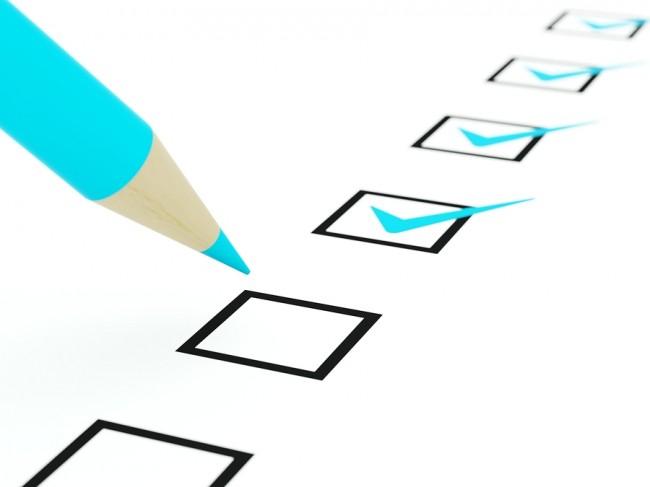 Checklist with blue pencil Image ©Mikhail Mishchenko