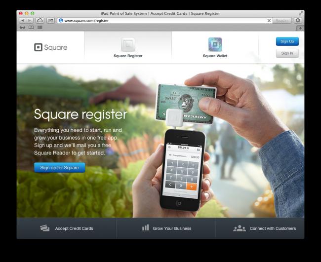 Screenshot of Square homepage