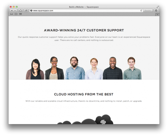Screenshot of SquareSpace homepage