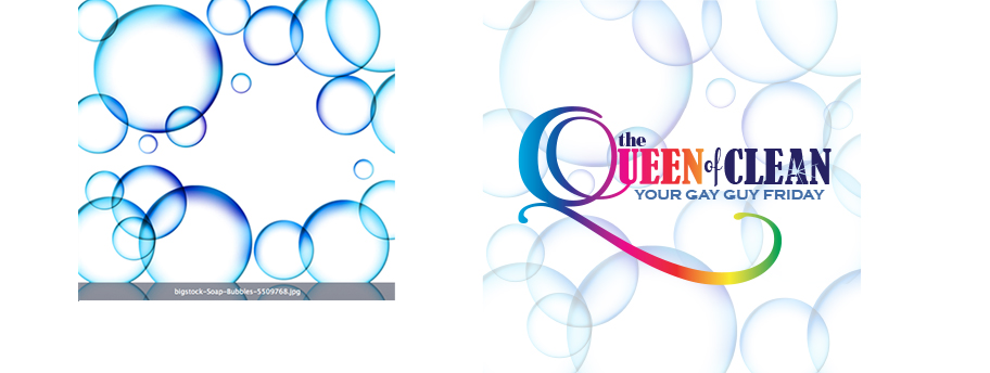 This new company has a proprietor who wanted to (a) promote that he is gay and (b) keep the look of the marketing upscale. He wanted his branding to feel clean, fresh  and friendly. So the signage incorporates the rainbow  with a flashy  Q . I then remembered the free bubble image from Bigstock,  which I incorporated into the branding which adds an upbeat, fun background.