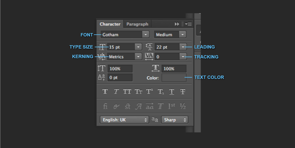 TYPOGRAPHY TUTORIAL: LEADING, KERNING, TRACKING - character palette