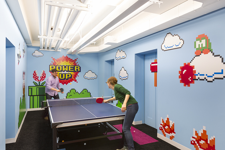 Our 8-Bit game room is fully-loaded with video games, ping pong, and fierce competition. Photo: Bilyana Dimitrova