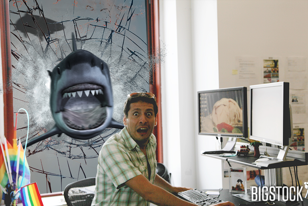 Erick was hard at work when the Sharknado happened. He now regrets throwing a fit about getting the window desk.