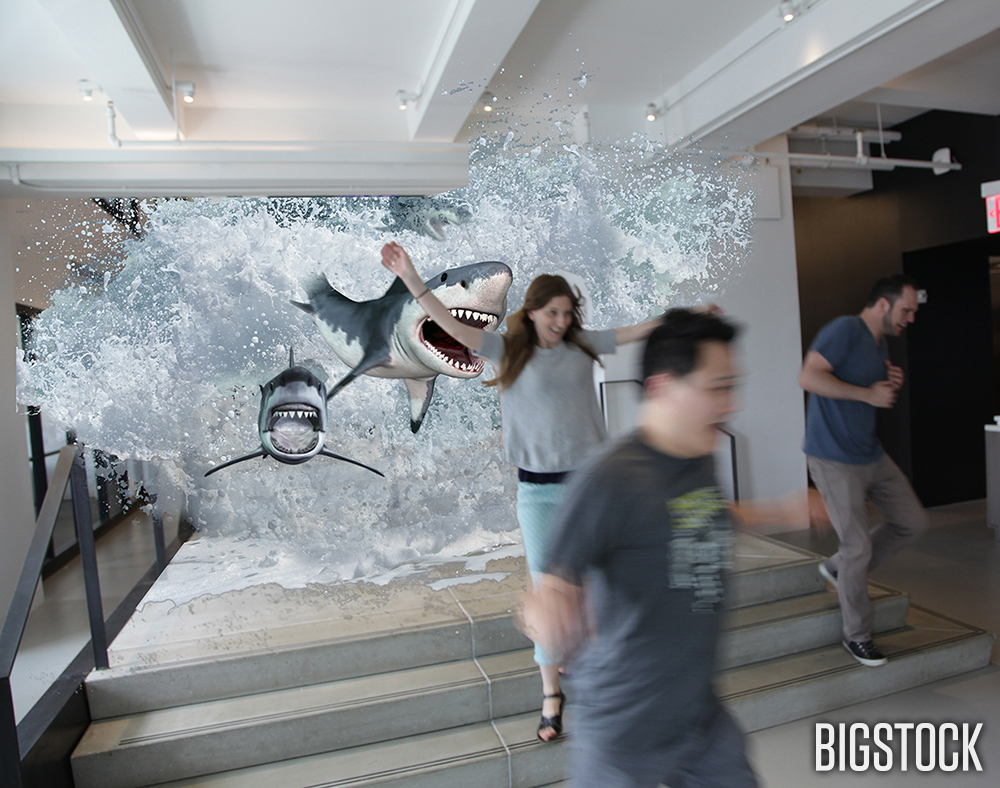"""It's a ""Sharknado!"" they all screamed in unison as they ran down the stairs."