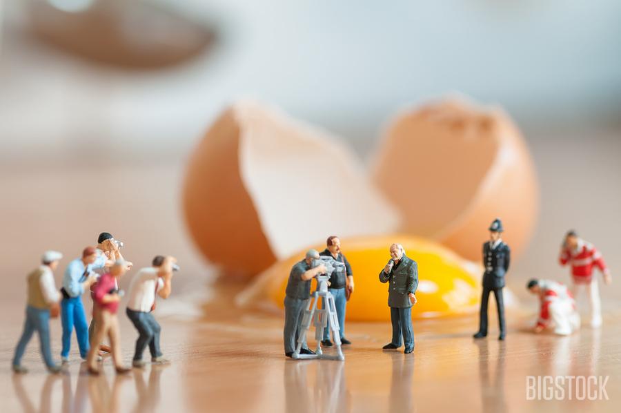 Broken egg accident in the kitchen